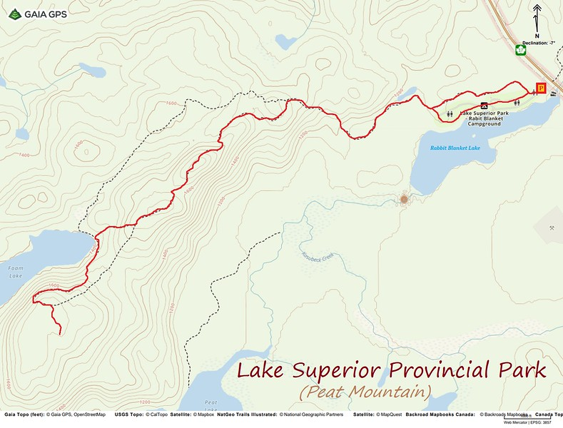 Peat Mountain Hike Route Map
