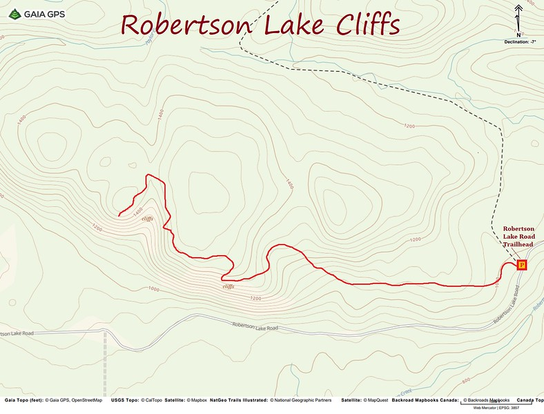 Robertson Lake Cliffs Hike Route Map