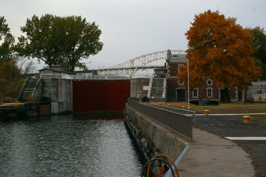 This canal, or lock, was first constructed in 1895 completing a Canadian system of locks connecting Lake Superior to the lower lakes and St. Lawrence Seaway.  Though closed commercially in 1987 it continues to serve pleasure craft sailing between the lakes...This is the lock from the downstream entrance...