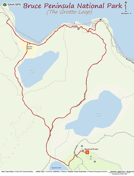 The Grotto Loop Hike Route Map