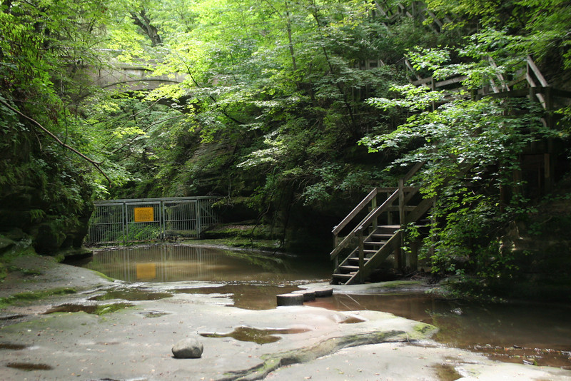 The stairs mark the end of the upper dells hike.  They lead up to the bridge above and my car where a much-needed water bottle waited...