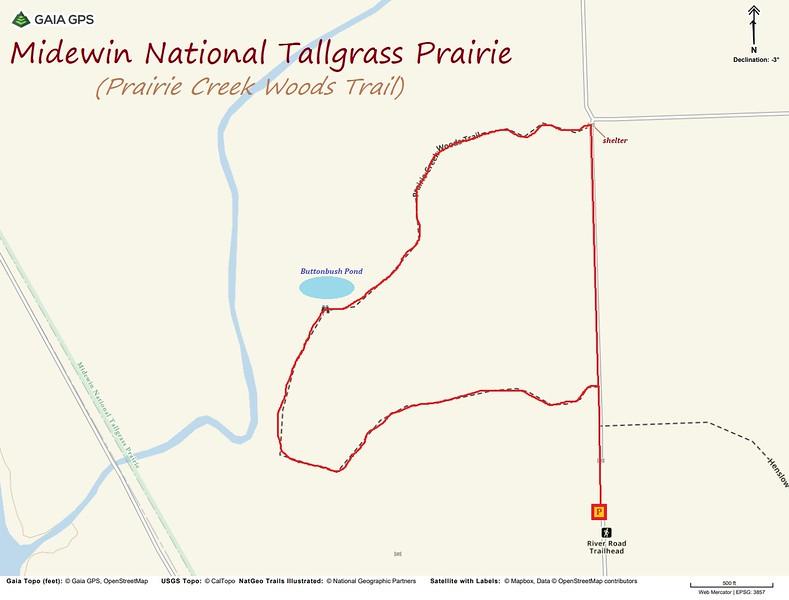 Prairie Creek Woods Trail Hike Route Map