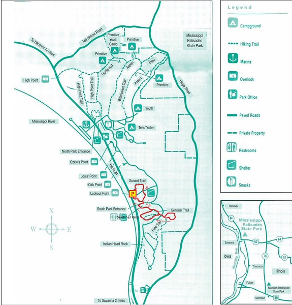 Mississippi Palisades State Park Hike Route Map