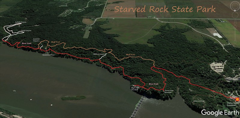 Starved Rock State Park Hike Route Map