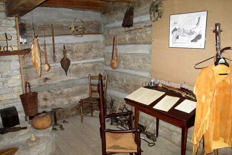 <b>George Rogers Clark Cabin</b> - The downstairs of the cabin is one single room which has been decorated to the frontier period in Indiana at the turn of the 19th Century...