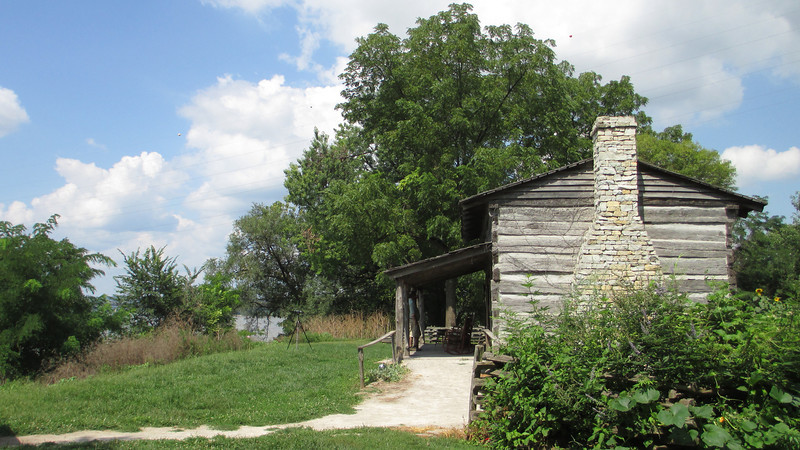 <b>George Rogers Clark Cabin</b> - Perched on its bluff high overlooking the mighty Ohio River, it's worth noting that this cabin is actually just a 'representation' of the one Clark lived in. The original cabin was destroyed in 1854...