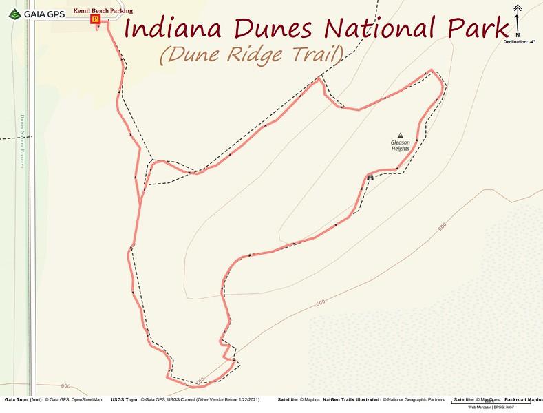 Dune Ridge Trail Hike Route Map