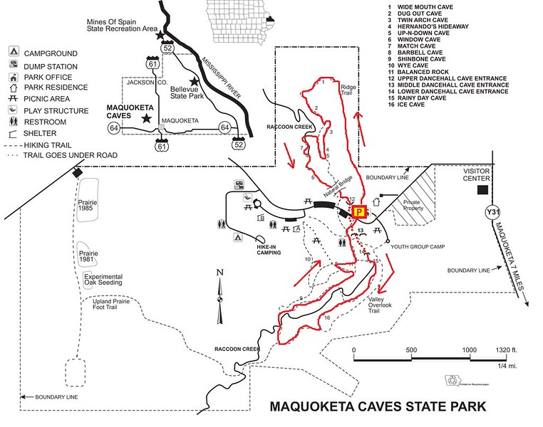 Maquoketa Caves State Park Hike Route Map