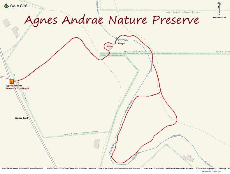 Agnes Andrae Nature Preserve Hike Route Map
