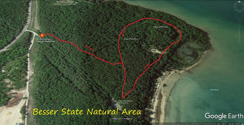 Besser State Natural Area Hike Route Map