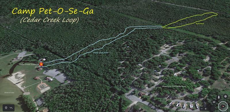 Camp Pet-O-Se-Ga Hike Route Map