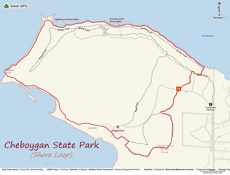 Cheboygan State Park Shore Hike Route Map