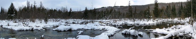 One last panorama of the wintery Jordan River with the high ridge of Deadman's Hill above...