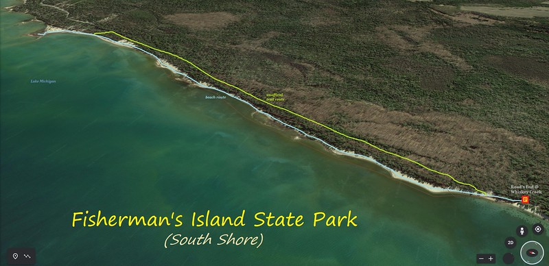 Fisherman's Island South Shore Hike Route Map