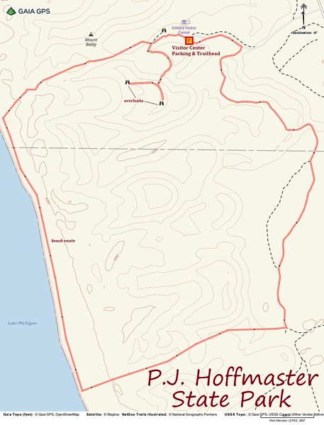 P.J. Hoffmaster State Park Hike Route Map