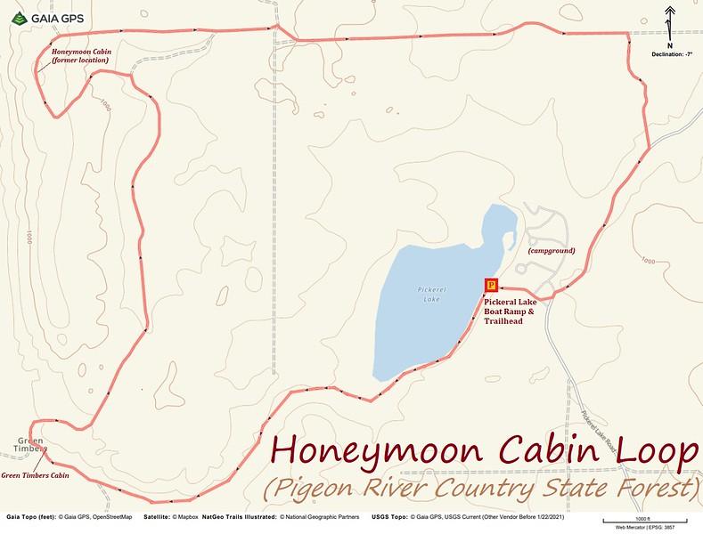 Honeymoon Cabin Loop Hike Route Map