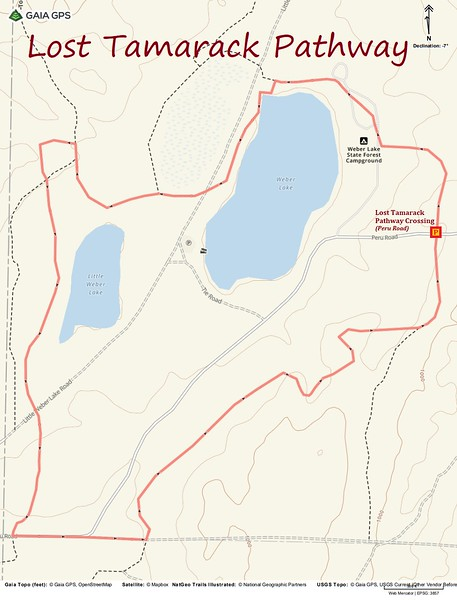 Lost Tamarack Pathway Hike Route Map