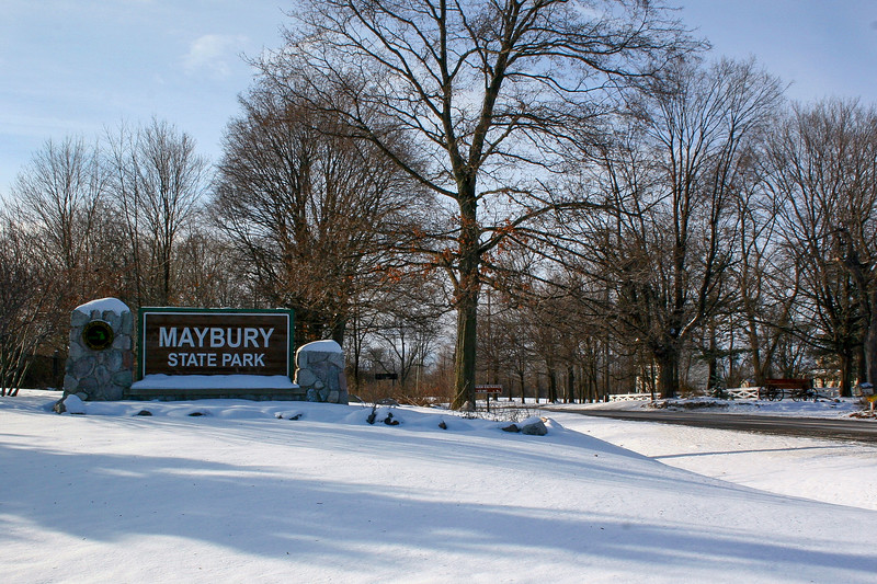 The entrance to the park off 8 Mile Road, west of Northville...