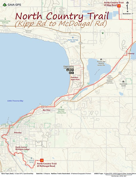 North Country Trail Section Hike Route Map