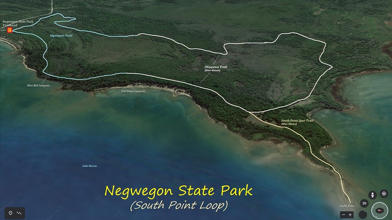 Negwegon State Park Hike Route Map
