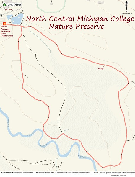 NCMC Nature Preserve Hike Route Map