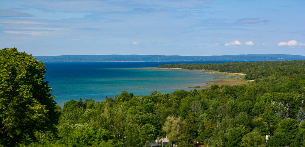 A closer look at Little Traverse Bay from the top of McSauba...