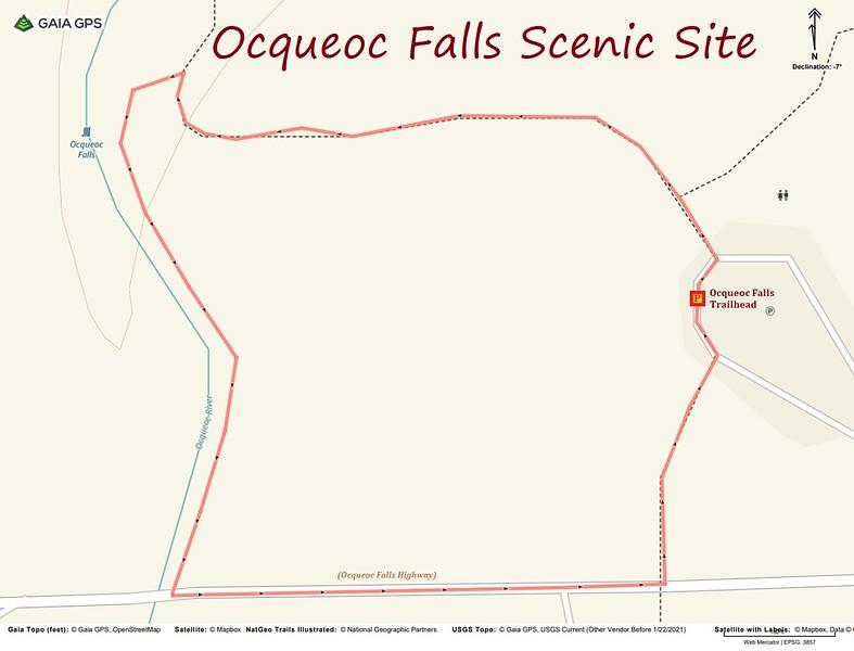 Ocqueoc Falls Hike Route Map