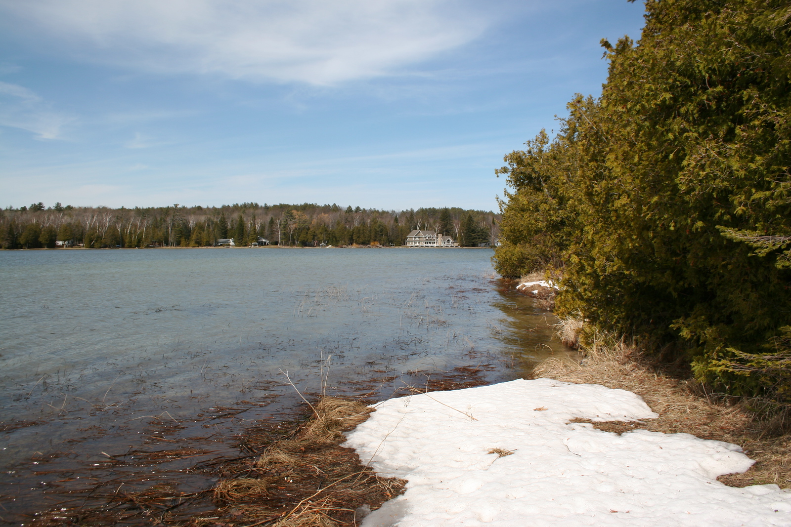 The trail peters out a bit short of the island's tip...a look across to the developed north shore of Crooked Lake...