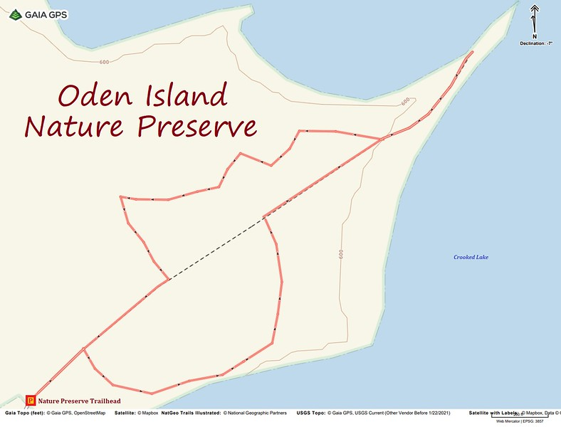Oden Island Nature Preserve Hike Route Map