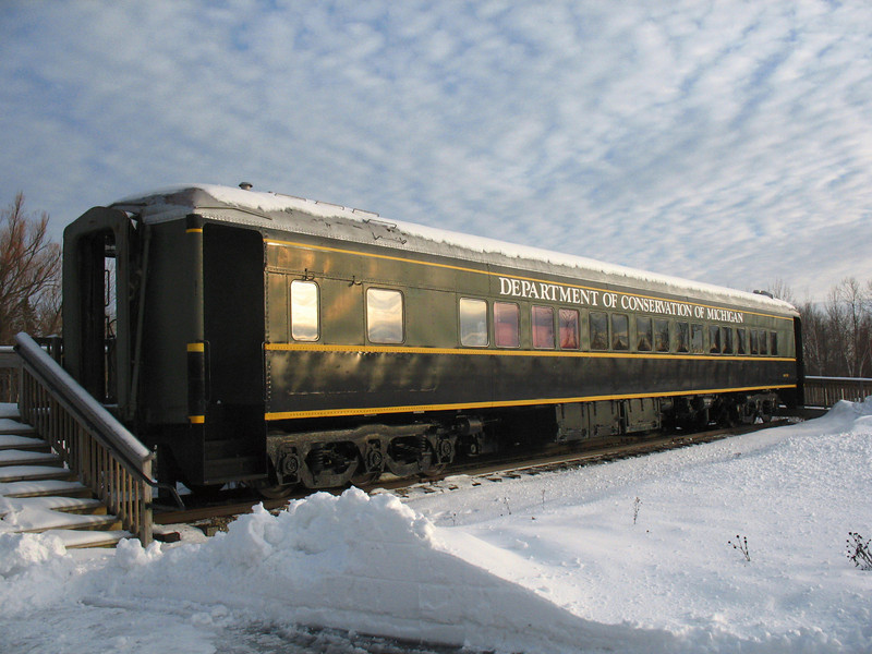 "The Wolverine - The only remaining of three ""fish cars."" This train car was used from 1914 to 1935 to transport fish across the state of Michigan. It was moved here as a permanent exhibit in 2002. It is open for tours during the summer."