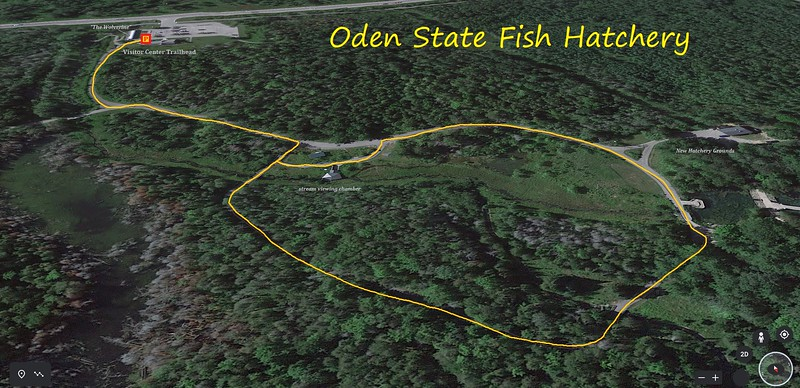 Oden State Fish Hatchery Walk Route Map
