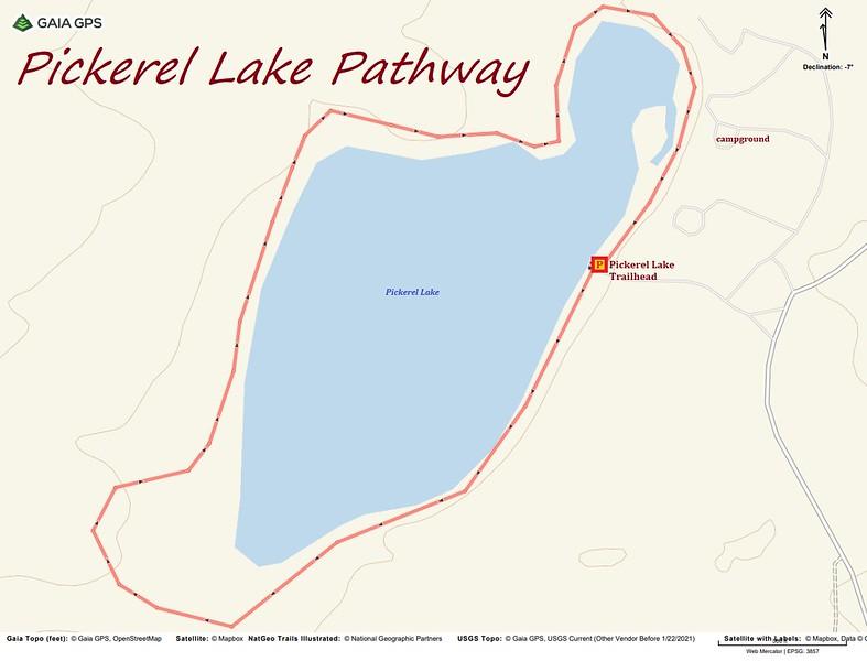 Pickerel Lake Pathway Hike Route Map