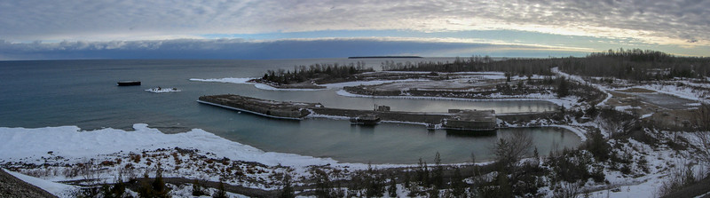 The panorama of Rockport Harbor from the top of the highest tailing pile...
