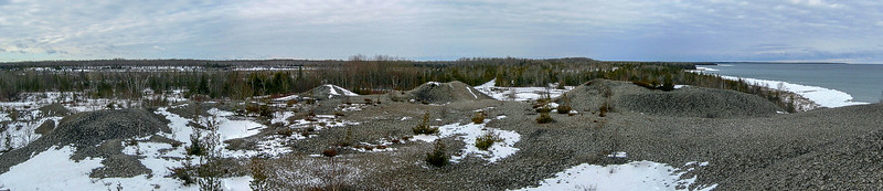 The panorama of the old Rockport limestone quarry which was much larger than I expected...the far edge of the quarry is marked by the white streak of snow in the distant woods to the left...