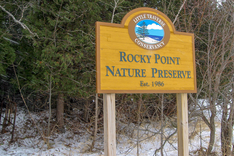 Being that the only way one can technically reach this preserve is by boat the entrance sign sits out along the lake at Rocky Point...