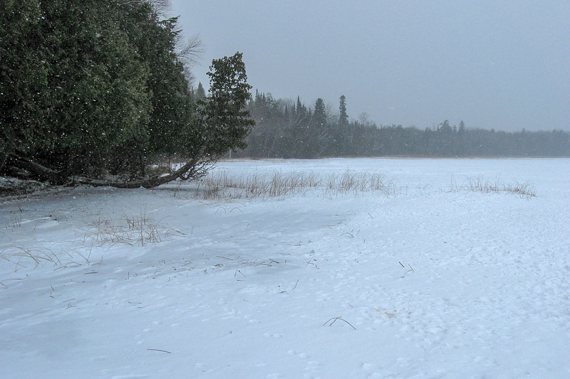 The snow just wasn't letting up as I started my way west from Rocky Point along the lake...