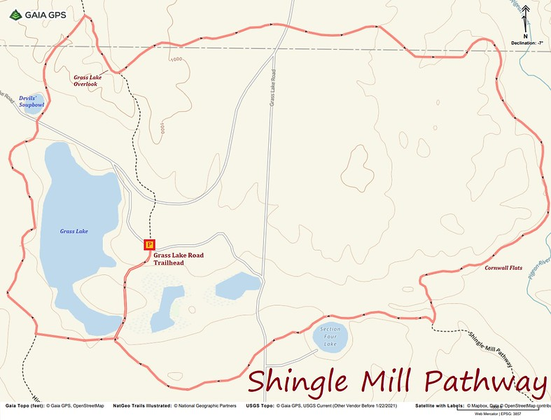 Shingle Mill Pathway Hike Route Map