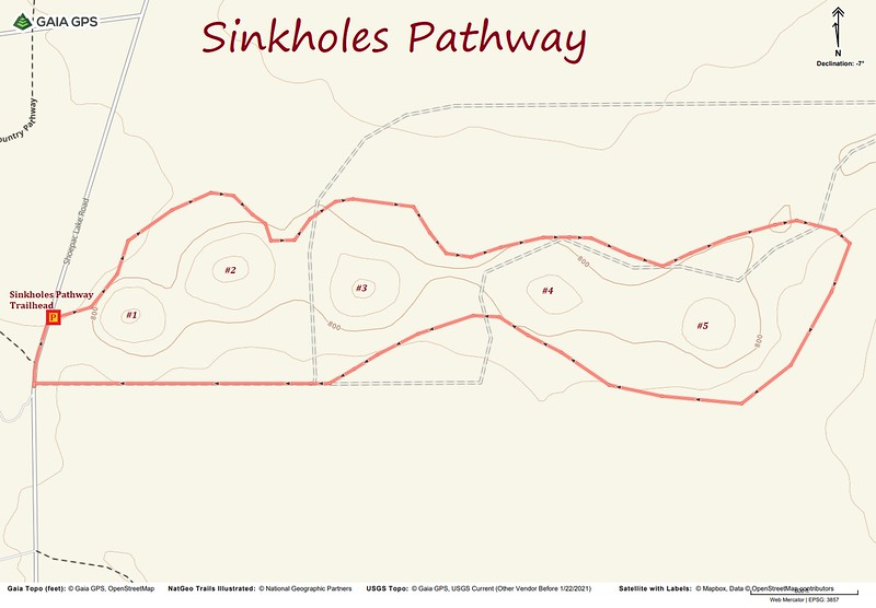 Sinkholes Pathway Hike Route Map