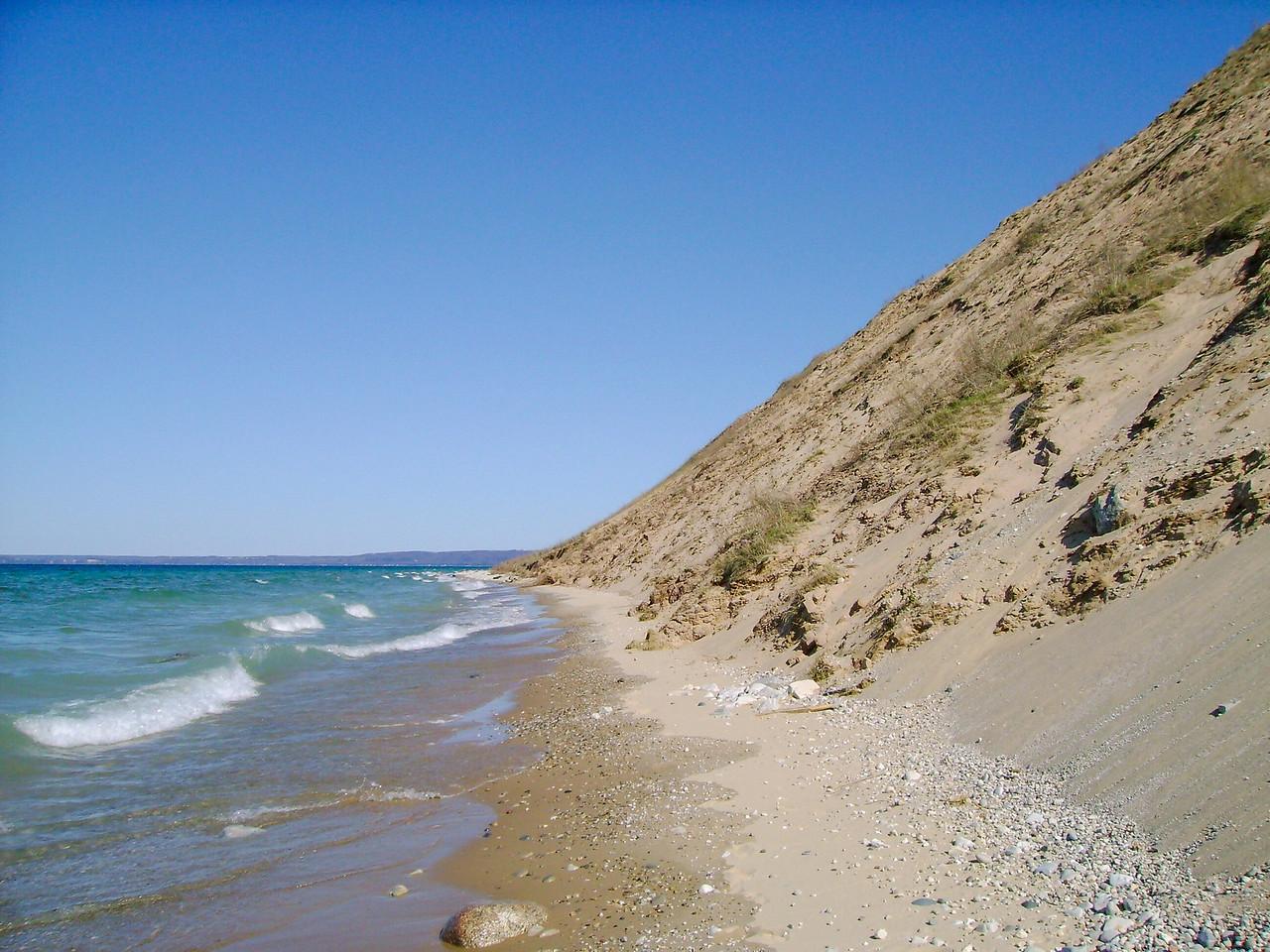 The shoreline beneath Pyramid Point...
