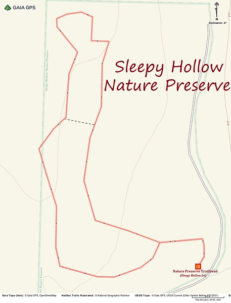 Sleepy Hollow Nature Preserve Hike Route Map
