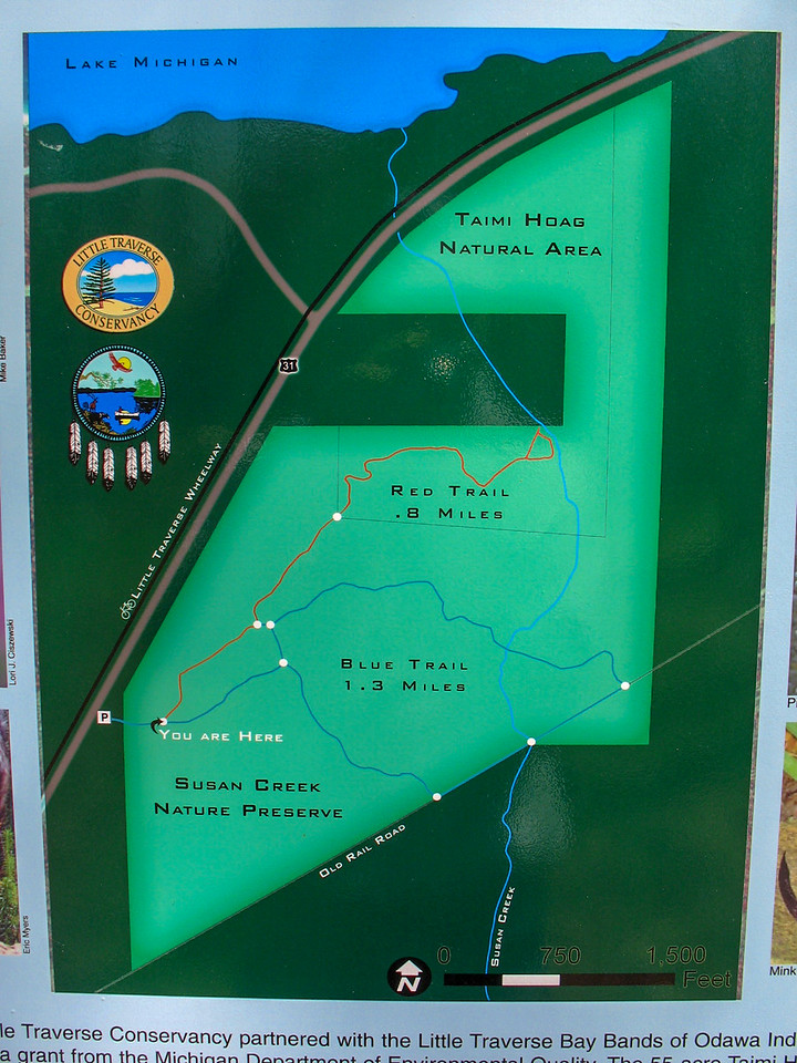 A closer look at the trail map...I would be following the Red Trail and then cutting over to do the Blue Trail...