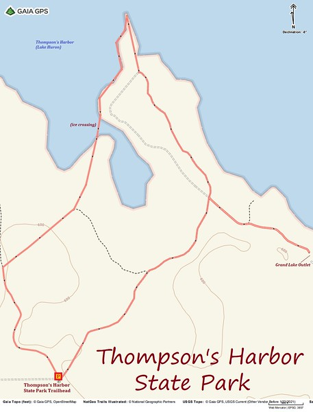 Thompson's Harbor State Park Hike Route Map