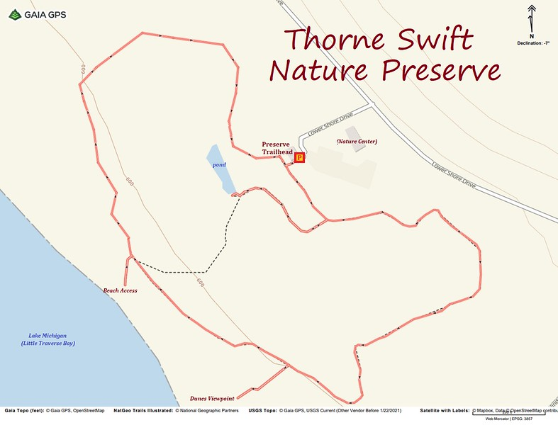Thorne Swift Nature Preserve Hike Route Map