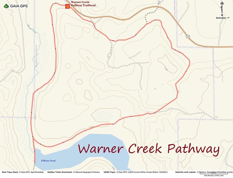Warner Creek Pathway Hike Route Map