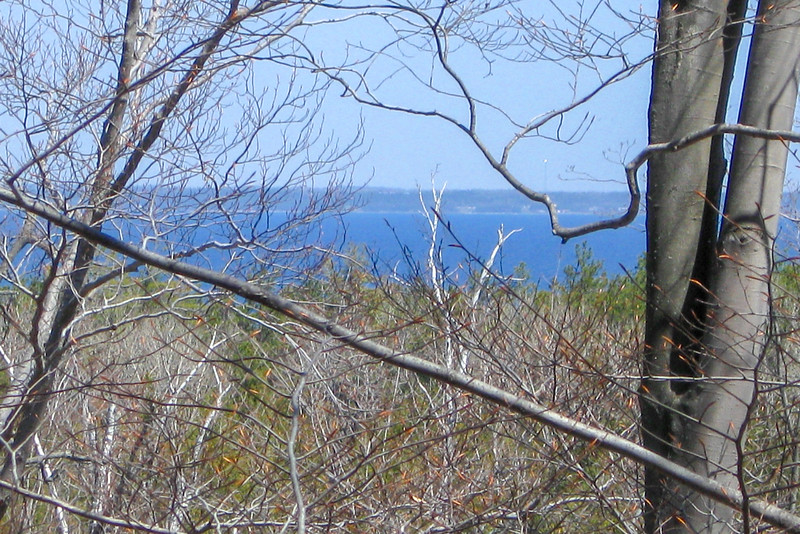 A glimpse of the Mackinac Straits from the top of Nebo...