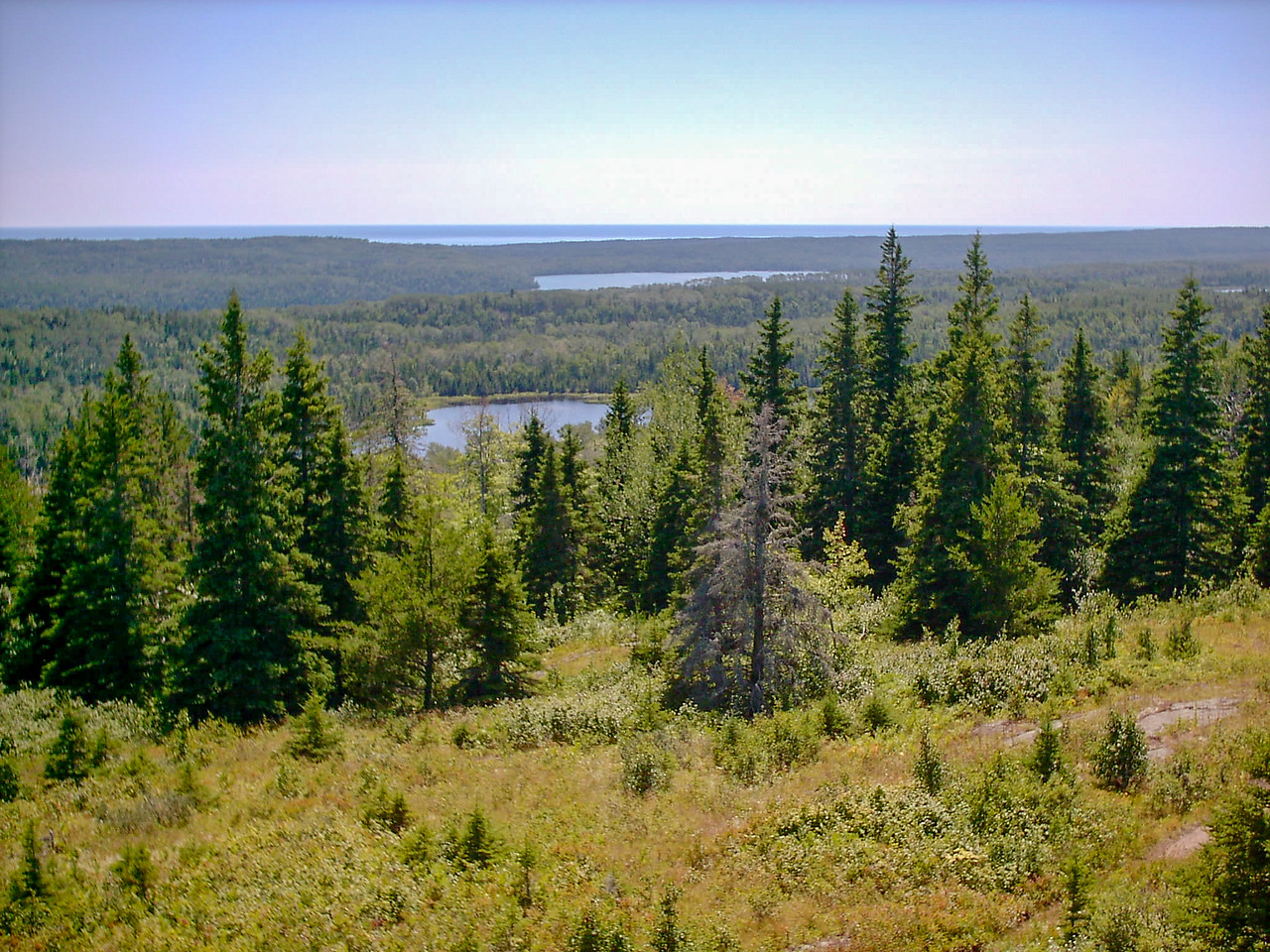 Day 2 - Mt. Ojibway (view SSW) - Lakes Ojibway (near) and Benson (far) are visible in this view of Isle Royale's interior from Mt. Ojibway.