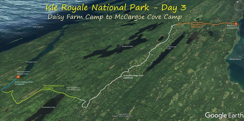 Isle Royale Hiking Route Map - Day 3