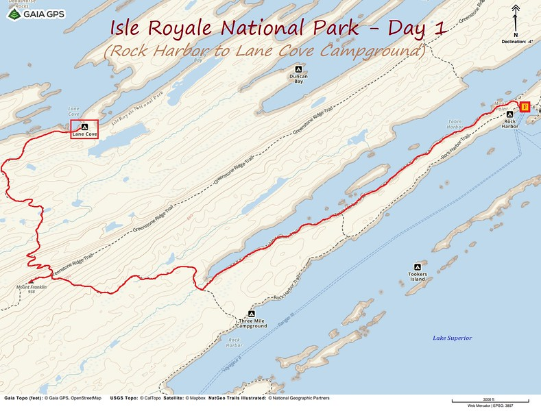 Isle Royale Hiking Route Map - Day 1