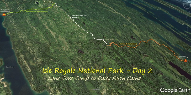 Isle Royale Hiking Route Map - Day 2