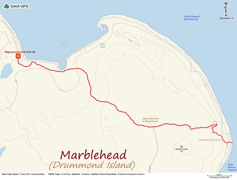 Marblehead Hike Route Map